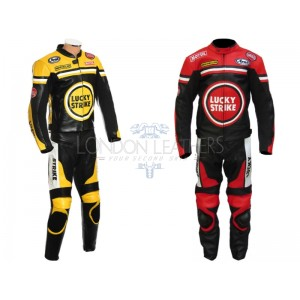 Custom Made Lucky Strike Leather Motorcycle Suit